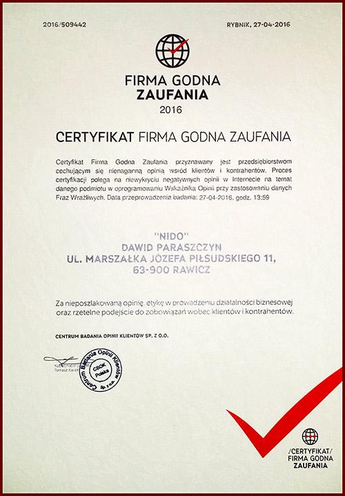 Certyfikat firma godna zaufania 2016, timegroup.pl